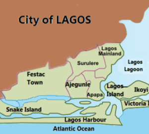 Map of Lagos, Nigeria showing urban areas, lag...