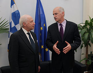 George Papandreou during a meeting with Matthe...