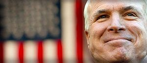 English: McCain displaying his patriotic count...