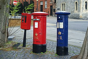 English: Post Boxes in Windsor Red and blue po...