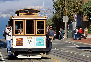 Cable Car of the Powell-Hyde line in San Franc...