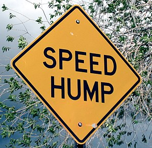 "A ""speed hump"" sign in Sante Fe, New..."