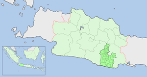 English: Map showing location of Tasikmalaya R...