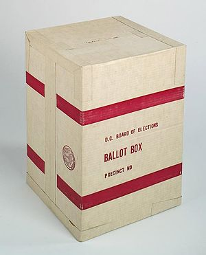 English: A cardboard ballot box used during th...