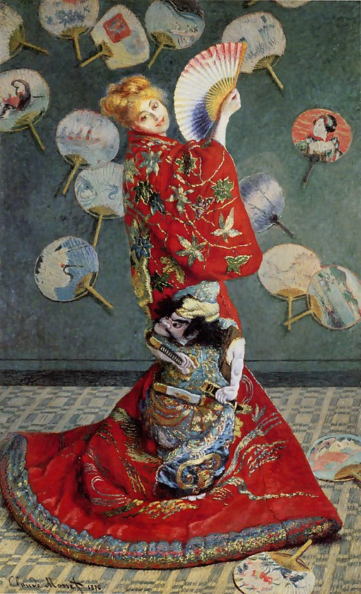 """Madame Monet wearing a Kimono"" by Claude Monet"