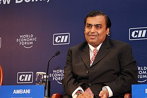 English: Mukesh Ambani during World Economic F...