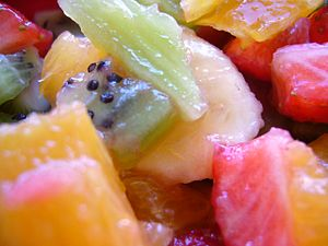 Fruit salad, seen close up.