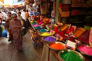 colours for the Holi festival at a market in M...
