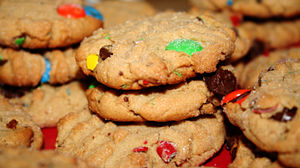 Peanut butter cookies with m&m's and chocolate...