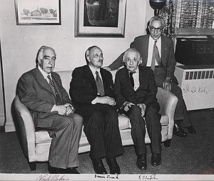 Portrait of Albert Einstein, Niels Bohr, James...