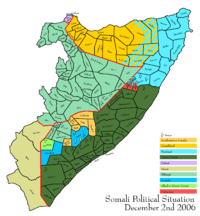 Map depicting the political situation in Somalia on December 2, 2006