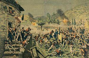 T. Rodella - battaglia di Mentana - litografia acquerellata su carta - 1870s.jpg