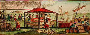 Extraction of Whale-Oil, image from a 18th cen...