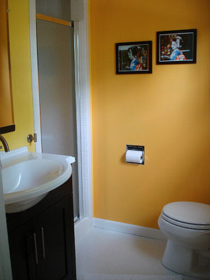 Small yellow bathroom