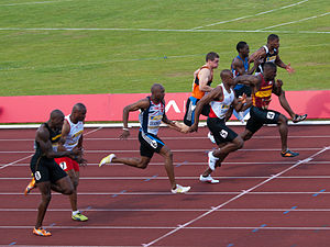 Runers in the Mens 100m Final at the Aviva 201...