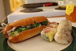 Bánh mì (Vietnamese sandwich) and Bánh cuốn. B...