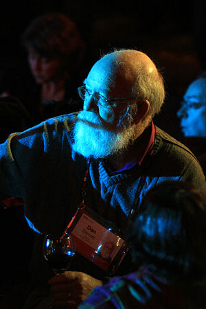 Dan Dennett looks on at TED 2009.