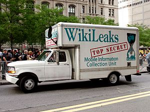 A van that purports to be the 'WikiLeaks Top S...