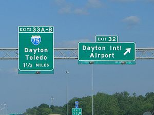 Interstate 70 exit sign for Dayton Internation...