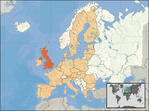 Location of the United Kingdom within Europe a...