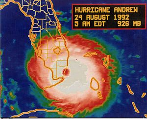 Infrared image of Andrew making landfall in Fl...