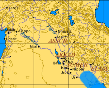 Overview map of ancient Mesopotamia.