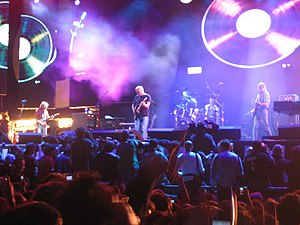Pink Floyd performing at Live 8 in London