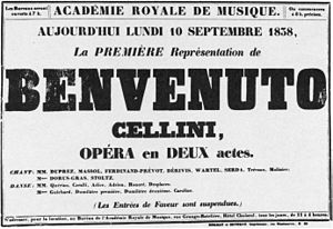 English: Poster advertising the first performa...