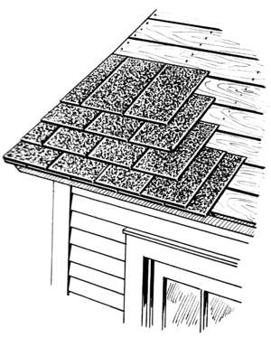 Line art drawing of a shingle roof