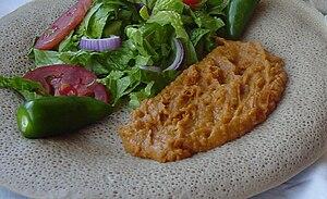 English: Taita served with shiro and salad.