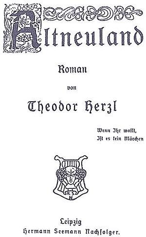 "Titelblatt des Romans ""Altneuland"" v..."