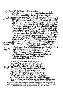 A foul sheet from Marlowe's writing of The Massacre at Paris (1593). Reproduced from Folger Shakespeare Library Ms.J.b.8