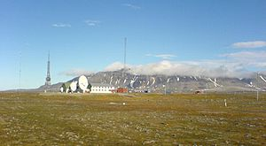 Isfjord radio on Svalbard seen from west