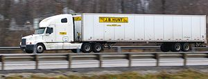 A J.B. Hunt semi-trailer truck photographed on...