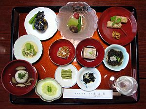 A vegetarian dinner at a Japanese Buddhist temple