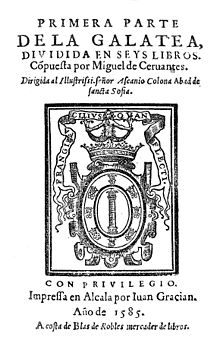 Portada de la primera edición de La Galatea