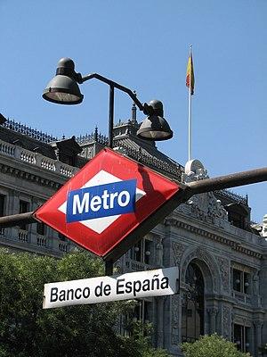 Sign at Banco de España underground station in...
