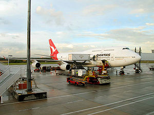 A Qantas 747 after landing in Brisbane, Australia.