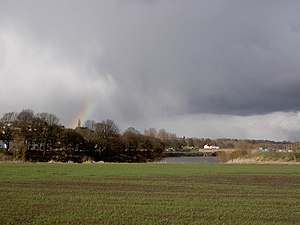 Rainbow over Ribble Rain coming in from the Ea...