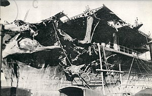 Damage to the Imperial Japanese Navy aircraft ...
