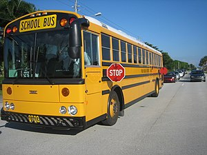 Image of a Thomas Saf-T-Liner HDX school bus.