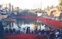 The Banganga Tank during the Banganga Festival.