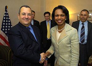 Ehud Barak et Condoleezza Rice.