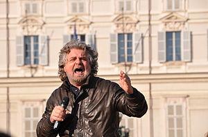 English: Beppe Grillo in Piazza Castello in Tu...