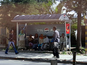 People waiting at bus stop in Addis Ababa (Eth...