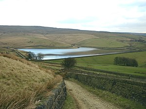 Castleshaw Top Reservoir Looking east towards ...