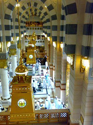 People exit Masjid al-Nabawi's Bab Al-Fahd gate