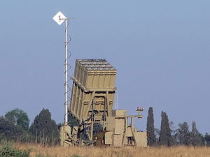 English: Iron Dome CRAM launcher near the town...