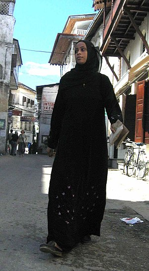Lady wearking jilbāb Zanzibar (cropped from or...