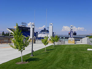 Romney Stadium, on the main campus of Utah Sta...